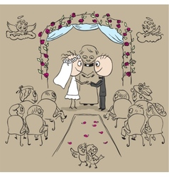 Wedding ceremony in church vector image