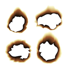 Burnt scorched paper hole on vector