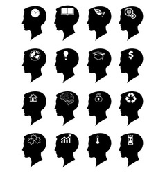 Idea mind icons set vector image