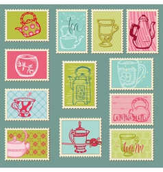 retro teapot stamps vector image vector image