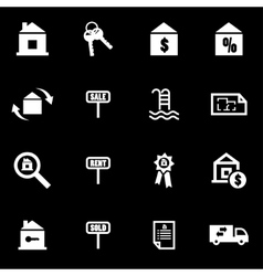 white real estate icon set vector image
