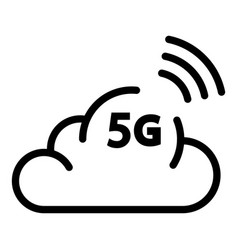 5g cloud icon outline style vector