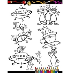 Aliens Cartoon Set for coloring book vector