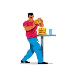 Athlete on fast food eating Cartoon vector image