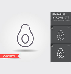 avocado line icon with editable stroke with vector image