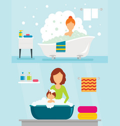 bathtub bathe woman banner concept set flat style vector image