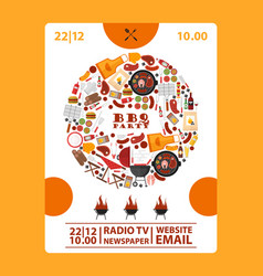 bbq party announcement banner vector image