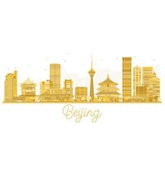 beijing city skyline golden silhouette vector image