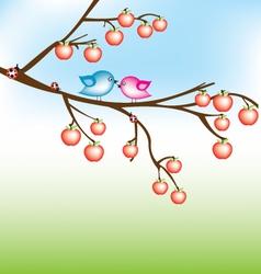 bird on apple tree vector image