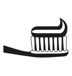 black and white toothbrush toothpaste silhouette vector image