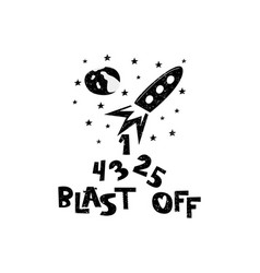 Blast off rocket launch hand drawn style vector