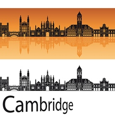 Cambridge skyline in orange background vector image