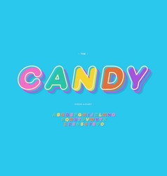 Candy alphabet color style vector
