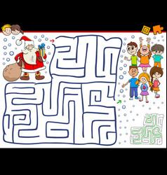 Cartoon maze game with santa claus vector