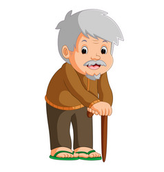 Cartoon of old man with a walking stick vector