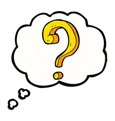cartoon question mark with thought bubble vector image