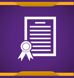 Certificate icon for web and mobile vector