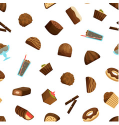 chocolate sweets seamless pattern background vector image