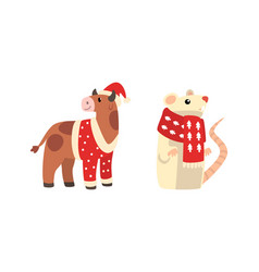 christmas animals set bull and mouse chinese vector image