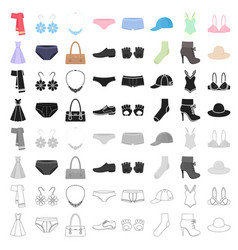 clothes set icons in cartoon style big collection vector image