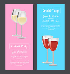 Cocktail party your invitation poster set red wine vector