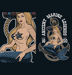 colorful of mermaid at the anchor in tattoo style vector image