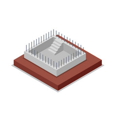 Construction of walls isometric 3d icon vector