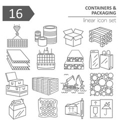 Containers and packaging icon set thin line vector