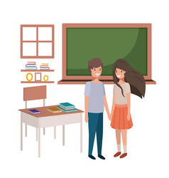 couple of young students in the classroom vector image