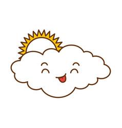cute cloud with sun kawaii character vector image