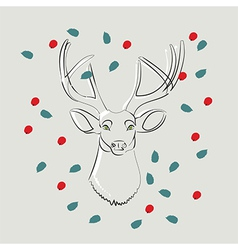 Deer with green eyes with leaves and berries vector image