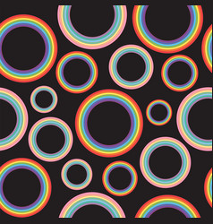 different pastel rainbow circles on black vector image