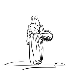 Drawing a girl in old-fashion retro peasant vector