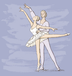 drawing of a couple of ballet dancers vector image