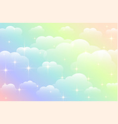 Dreamy rainbow color beautiful clouds background vector