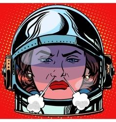 Emoticon rage boiling water emoji face woman vector