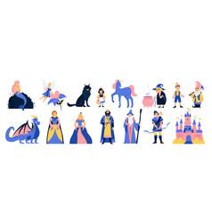 Fairy tale characters cartoon set vector
