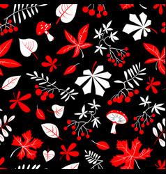 fall season floral seamless pattern autumn vector image