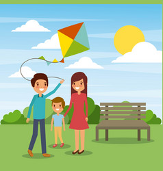 family play with kite funny in the park vector image