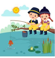 Fisherman kids vector