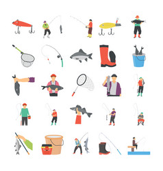 Fishing flat icons vector