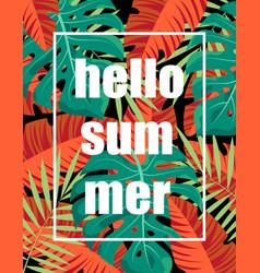 floral frame hello summer vector image