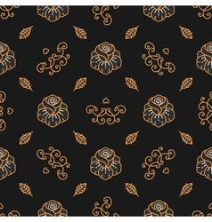 Floral pattern seamless Golden Rose linear icons vector