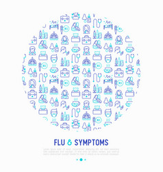 Flu and symptoms concept in circle thin line icons vector