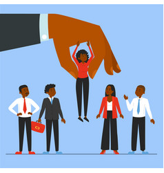 Giant hand choosing candidate for a job vector