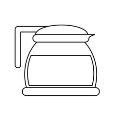 Glass pot with coffee outline vector