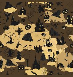 halloween holiday seamless pattern flat design vector image