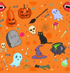 halloween seamless pattern in cartoon style vector image