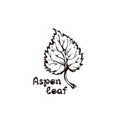 Hand drawn aspen leaf with handwritten text vector