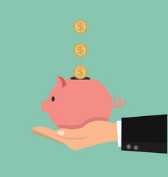 hands holding piggy bank with coins vector image